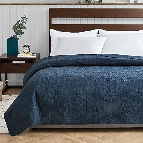 EHEYCIGA Queensize-Tagesdecke, marineblau, 1 Stück, leichte Damast-Tagesdecke für Full/Queen-Bett