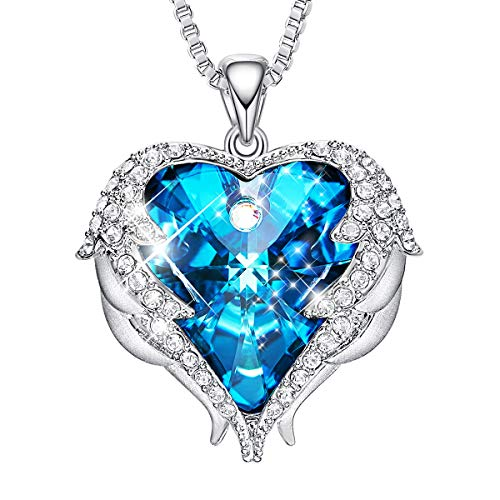 CDE Angel Wing Necklaces for Women Embellished with Austrian Crystals Pendant Necklace Heart Of Ocean Christmas Jewelry Gift for Women Mom Wife