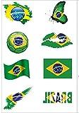 Fußball Tätowierungen Flagge Aufkleber [8 Stück] 2018 WM Fußball Fans Brasilien Fahnen Tattoo