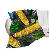 SDFWEWQ Sherpa Decke Grau 150x200 cm Mais-Chili-Gurke Weiche Flauschige Warme Dicke Leicht zu pflegen Zweiseitige Kuscheldecke Fleecedecke,4 Jahreszeit als Sofaüberwurf Tagesdecke oder Wohnzimmerdecke