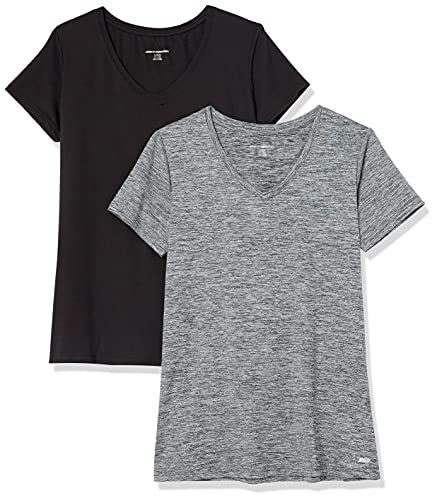 Amazon Essentials 2-Pack Tech Stretch Short-Sleeve V-Neck T-Shirt Athletic-Shirts, Space Dye Negro, US M (EU M - L)