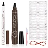 2Pack Eyebrow Pens,Eyebrow Tattoo pen,12 Styles Eyebrow Stencil shaper Kit,eyebrow razor,Extremely Creates Natural