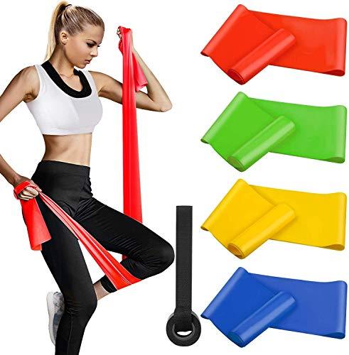 Alviller Bandas Elasticas Fitness 4 Piezas|200 x 15 cm, Resistencia Bandas de Ejercicios Cintas Elastica de Resistencia con Nivel de Marca (Ligero, Mediano, Pesado, X-Pesado) para Pilates Yoga