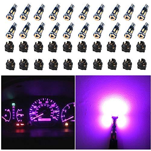 WLJH Canbus Bright PC74 Twist Lock Socket T5 2721 73 74 Led 7SMD 4014 Chip Car Instrument Cluster Gauge Dash Dashboard Indicator Panel Lights Lamp Light Bulb Kits 12V Pink Purple- 20 Pack