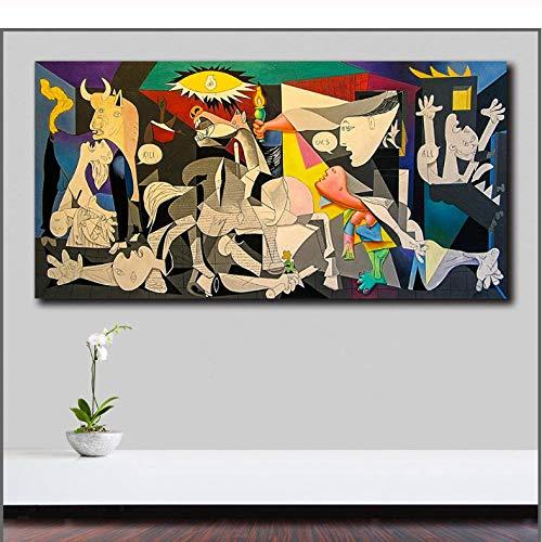 Pablo-Picasso-Guernica Pop ArtPainting Print Living Room Decor Modern Wall Art Póster Cuadro al óleo sin marco, 40 x 50 cm