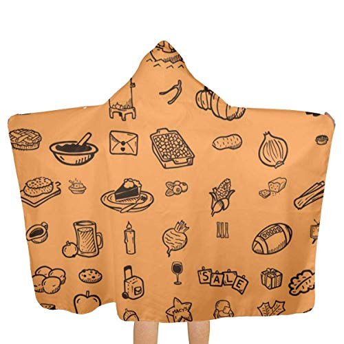ZHSL Thanksgiving Icons Kids Beach Bath Bathed Hooded Shower Towl