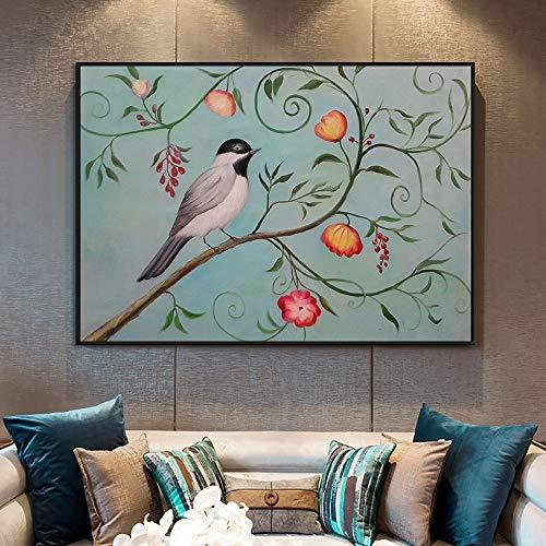 Preisvergleich Produktbild wZUN Abstrakter Vogel,  der auf der Baummalerei Steht Ölgemälde auf Leinwand für Kinderzimmerdekoration Hauskunstmalerei 60x90 Rahmenlos