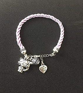 Bracciale di gatto di seta intrecciata rosa pallido con profumo di perle, bracciale, gioielli, bracciale di gatto, gioiell...
