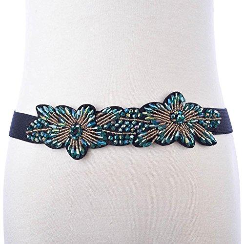 SZH&BELT Frauen-Imitation Kristall-elastischer Bund Kleid Dekoration Gürtel , green