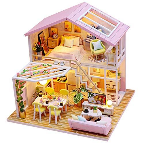 Blanket Casa in Legno 3D con mobili, Kit Modello di casa delle Bambole in Miniatura Fai-da-Te, Kit per Mini stanze con Scatola Luminosa a LED Confezione Regalo di Compleanno per teatro