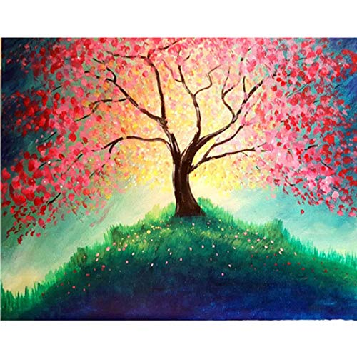 5D Diamond Painting Kits,Alpine Pink Tree 5D DIY Diamond Painting Kits, DIY Cross Stitch Art Craft for Adults and Kids, Perfect for Home Wall Decoration 11.8x15.7 inch(Frameless)