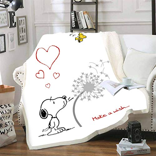 SMNVCKJ-Peanuts Snoopy Decke Cartoon,Snoopy Kuscheldecke Anime-Peanuts Snoopy and Woodstock Flauschdecke,für Kinder Und Erwachsene (150 * 200,7)