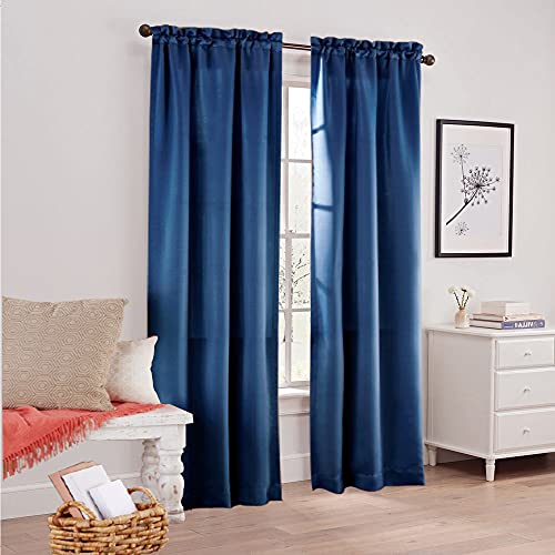 Merryfeel Blackout Window Curtain Panels for Bedroom - Thermal Insulated Room Darkening Curtain for Living Room , 30 x 84 Inch, 2 Panels,Rod Pocket, Blue