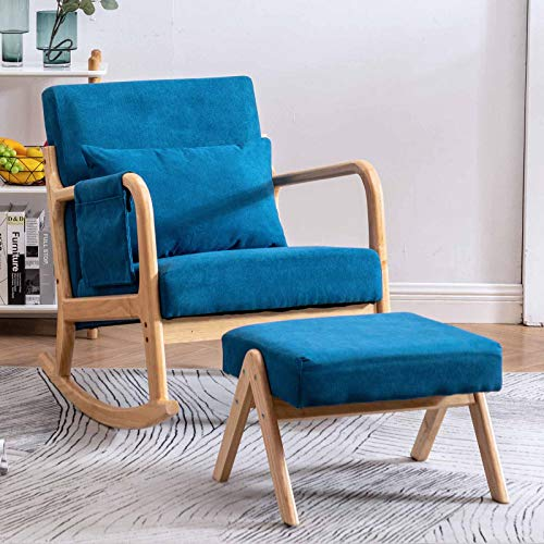 Paddie Rocking Chair for Nursery, Glider Rocker with Ottoman Side Pocket Pillow Fabric Modern for Living Room Bedroom Furniture (Blue)