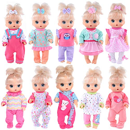 10 Sets Total 26 Pcs Doll Outfits Clothes Accesories for 10 inch Baby Dolls ,12 inch Alive Baby Dolls / New Born Baby Dolls