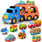 9 pcs Cars Toys for 1 2 3 4 5 Years Old Toddlers, Big Carrier Truck with 8 Small Cartoon Pull Back Cars, Colorful Assorted Vehicles, Transport Truck with Sound and Light, Best Gift for Boy and Girl