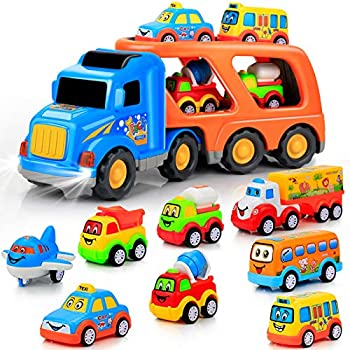 9 pcs Cars Toys for 2 3 4 5 Years Old Toddlers Big Carrier Truck with 8 Small Cartoon Pull Back Cars Colorful Assorted Vehicles Transport Truck with Sound and Light Best Gift for Boy and Girl