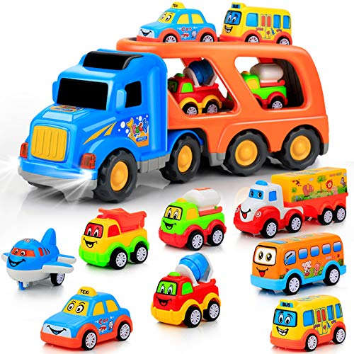 9 pcs Cars Toys for 2 3 4 5 Years Old Toddlers, Big Carrier Truck with 8 Small Cartoon Pull Back Cars, Colorful Assorted Vehicles, Transport Truck with Sound and Light, Best Gift for Boy and Girl