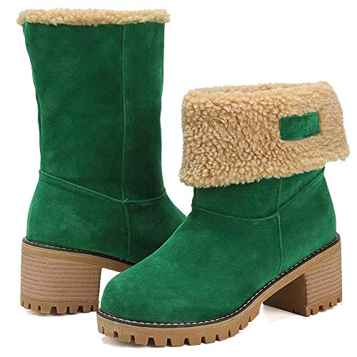Women Cute Warm Short Boots Suede Chunky Mid Heel Round Toe Winter Snow Ankle Booties (Green, 11)