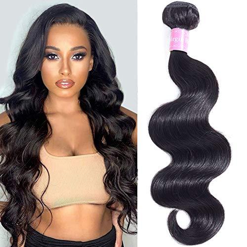 Abbily Hair Brazilian Body Wave 20 inch 1 Bundles 100g Unprocessed Brazilian Virgin Body wave Human Hair One Bundles Natural Black Color 10A Brazilan Body Wave Bundle Human Hair Weft