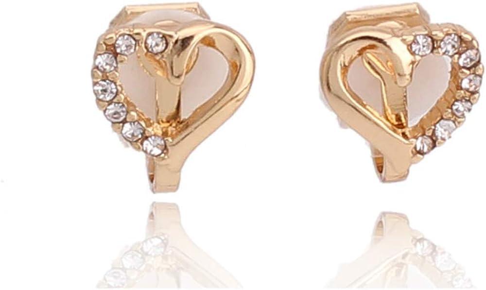 HAPPYAN Fashion Rhinestone Heart Star Shape Clip on Earrings No Pierced Cute Ear Clip Jewelry
