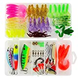 ROSE KULI Fishing Lures Baits, 80Pcs Set for Bass, Trout, Salmon, Including CrankBaits, Spoon Lures, Soft Plastic Worms, Topwater Lures with Fishing Tackle Box