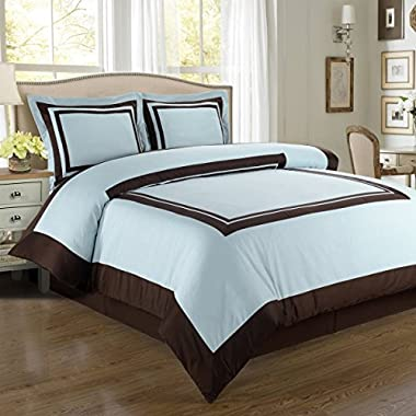 Sheetsnthings 100% Cotton Hotel Duvet Cover Set, 300TC -Full/Queen, Blue With Chocolate Trim- 3PC Duvet Covers