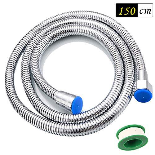 Funxim hoogwaardige doucheslang roestvrij staal doucheslang, flexibele explosiebescherming voor alle douchekop (G1/2) Dubbel slot met waterdichte band 1.5m