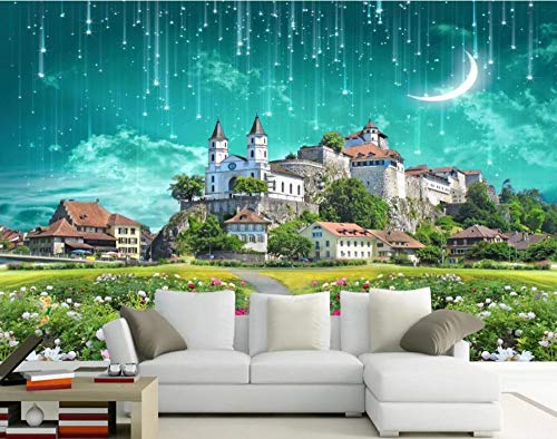 Fotomurali Murale 3D Fantasy Castle Meteor Shower Garden Carta Da Parati Muro 3D Soggiorno Camera da letto Wallpaper Home Decor 300cm×210cm