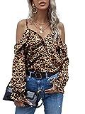 ZANZEA Camisa con Hombros Descubiertos para Mujer Tops con Estampado de Leopardo Blusa Suelta de Manga Larga de Talla Grande 06-marrón M
