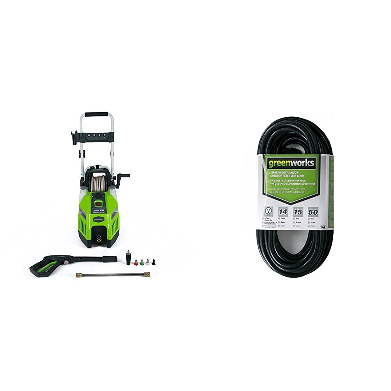 Greenworks 2000 PSI 13 Amp 1.2 GPM Pressure Washer with Hose Reel and 50-Foot Indoor & Outdoor Extension Cord