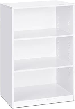 FURINNO JAYA Simple Home 3-Tier Adjustable Shelf Bookcase, White