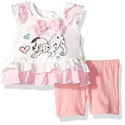 Disney Girls' 2 Piece 101 Dalmations Bike Short Set, White, 18m