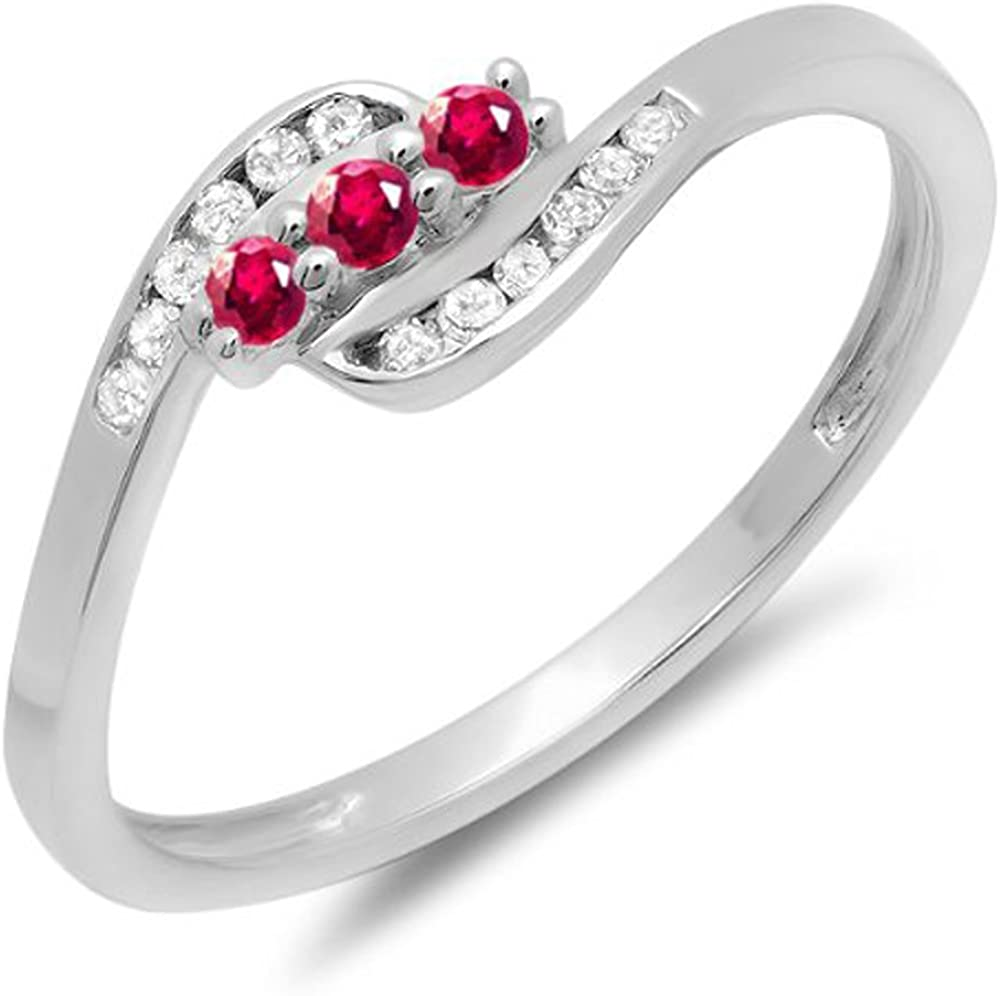 Dazzlingrock Collection 18K Round Ruby And White Diamond Ladies Anniversary Promise Wedding Ring, White Gold