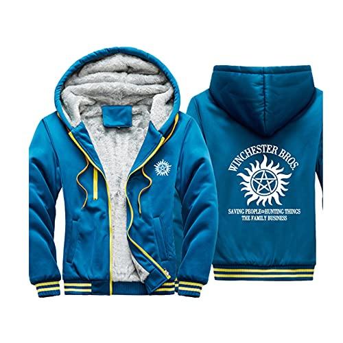 HOBEKOK Sudadera con capucha para hombre con cremallera, chaqueta de invierno cálida de manga larga, poliéster, puños elásticos universales