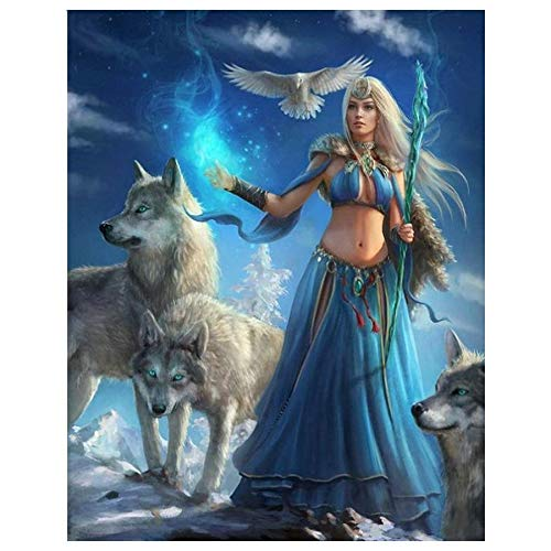 GSOLOYL Cross Painting Show 5D DIY Full Square Round Drill Diamond Painting Cross Stitch Woman/wolf/eagle Diamond Embroidery Diamond Mosaic Wall Decor (Size : Round drill 20x25cm)