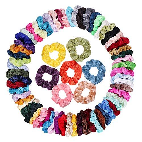 75 Pcs Hair Scrunchies, Plain Velvet Hair Accessories, Elastic Soft Ponytail Holder Hair Ties for Women and Girls