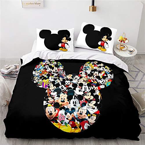 ZHYINA Disney Mickey & Minnie Mouse,Mickey Mouse ropa de cama infantil funda nórdica 135 x 200 cm con 1 funda de almohada 80 x 80 cm (A07,200 x 200 cm +75 x 50 cm x2)