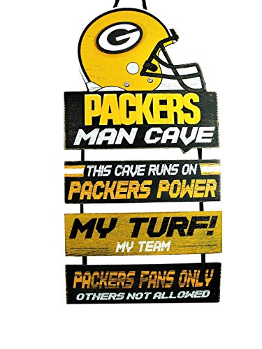 Forever Collectibles NFL Green Bay Packers Wood SignMan Cave Design, Team Colors, One Size