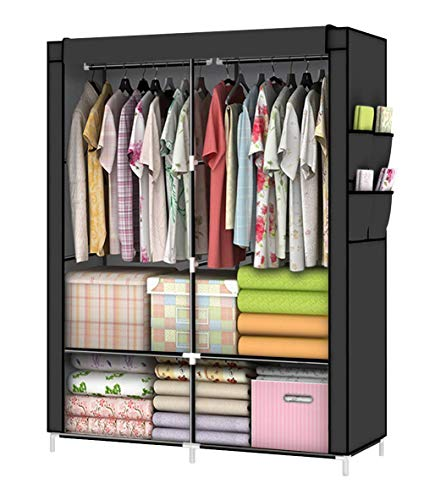 YOUUD Wardrobe Portable Closet Organizer Cloth Wardrobe Clothes Rack Cloakroom with Hanging Rod 108x44x167cm Black