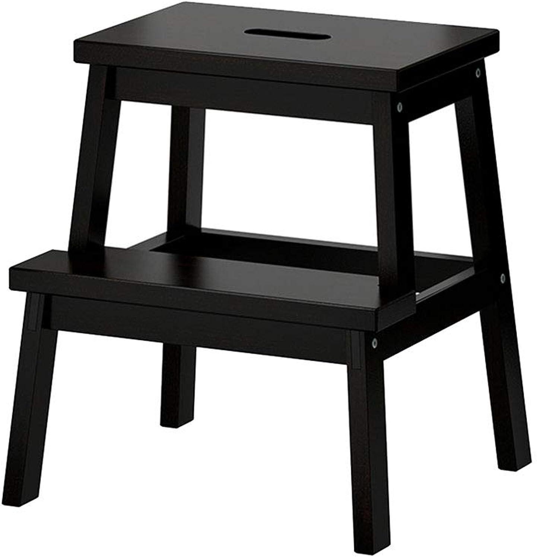 2 Step Stool Wooden Ascending Ladder Stool for Kids and Adults Anti-Skid for Bathroom Kitchen Livingroom(45  25  50cm)