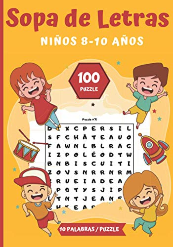 Sopa de Letras Niños 8-10 años: Pasatiempos para niños - juegos de letras educativos |100 Puzzle letras grandes|Para las vacaciones o el tiempo libre | idea del regalo