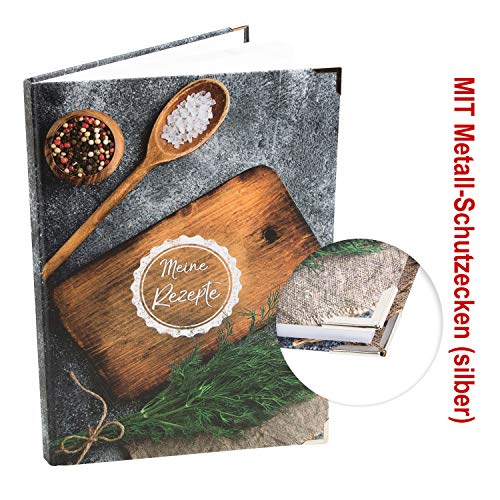 Logbuch-Verlag MEINE REZEPTE Rezeptbuch zum Selberschreiben DIN A4 - leere blanko Seiten - DIY Kochbuch rustikal - Geschenkidee Küche Hobbykoch