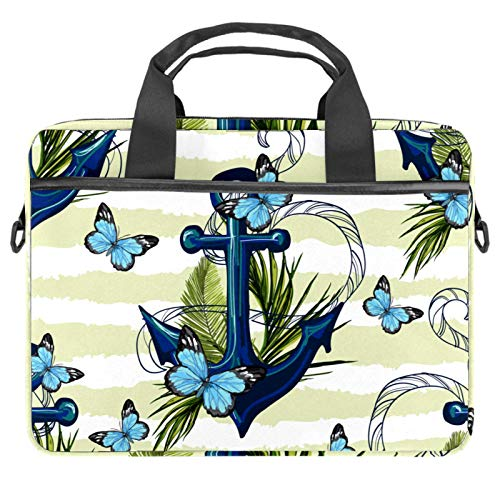Laptop Bag Nautical Anchor Floral Butterfly Stripe Notebook Sleeve with Handle 13.4-14.5 inches Carrying Shoulder Bag Briefcase