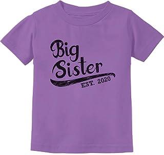 Girls Big Sister Est 2020 Sibling Gifts Toddler Kids T-Shirt