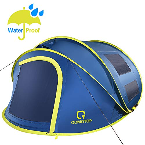 "OT QOMOTOP 4 Person Pop up Tent, 9.5'×7' with 50"" Center Height, 10 Second Setup Instant Tent, Rainproof Tent, 4 Ventilated Mesh Windows, 2 Mesh Doors, Family Camping Tents(Blue)"