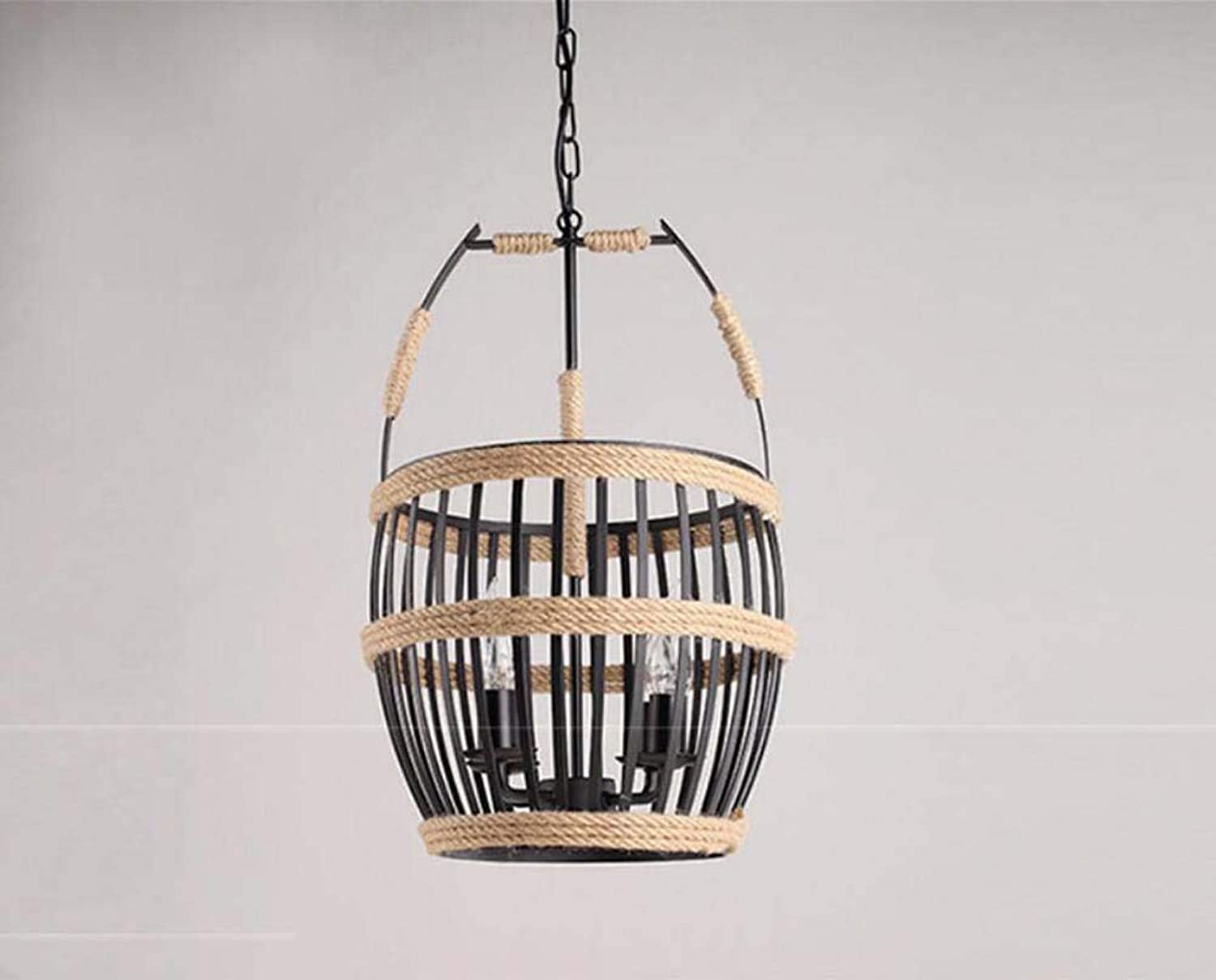 Mamrar Retro-Hanf-Seil Pendant Lampe Hohl Weinfass Korb Form Chandelier Bar Cafe Restaurant Deco Hngende Linie Light,L
