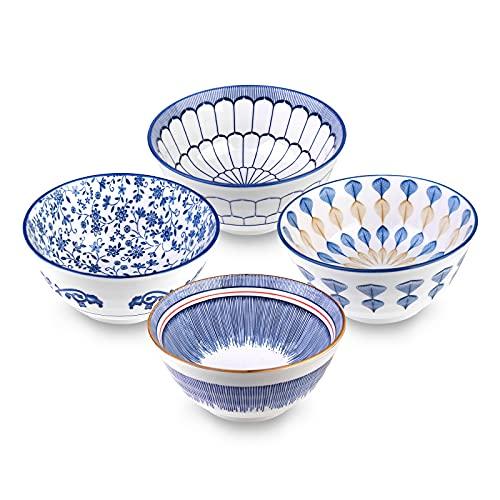 Cuencos chinos de porcelana de 4 unidades, estilo vintage, 14 cm, para servir postres, arroz, pasta, sopa, fruta, helado, pasta, ensalada, aperitivos y salsa o decoración.