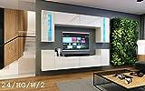 HomeDirectLTD Wohnwand Future 24 Moderne Wohnwand, Exklusive Mediamöbel, TV-Schrank, Neue Garnitur, Große Farbauswahl (RGB LED-Beleuchtung Verfügbar) (LED 16-Farbig mit Fernbedienung, Weiß Hochglanz)