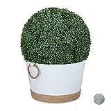Relaxdays Zinkwanne Bañera de Zinc Impermeable, Redonda, Enfriador de Bebidas, Maceta para jardín, Mini Estanque, 30 L, Altura x D 26 x 41,5 cm, Color Blanco